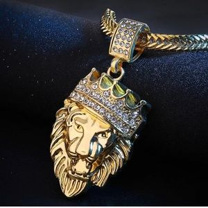 New Trendy Lion Head Pendant & Chain Gold Plated